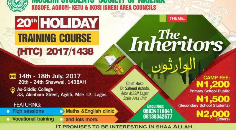 Muslim Students in Kosofe set to organize 4-days Holiday Training Course