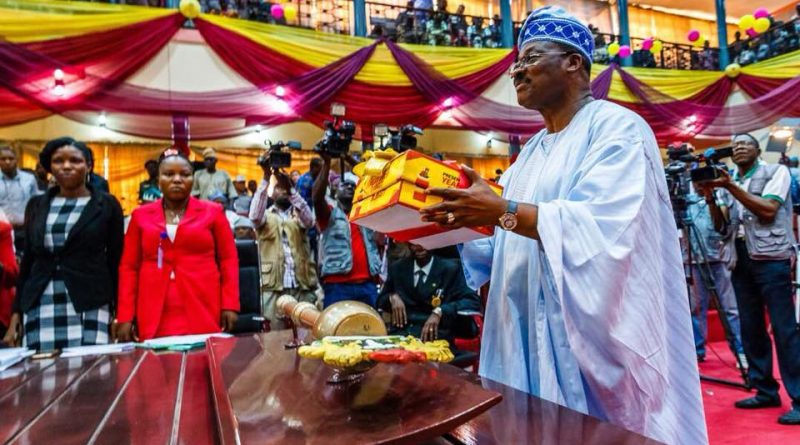 Ajimobi presents N267 budget of stability, receives defector from Accord Party