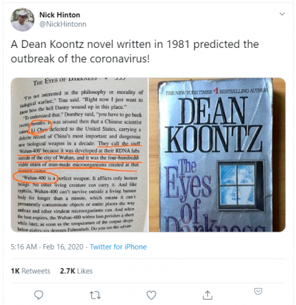 Fact Check: Was Coronavirus Predicted in a 1981 Dean Koontz Novel?